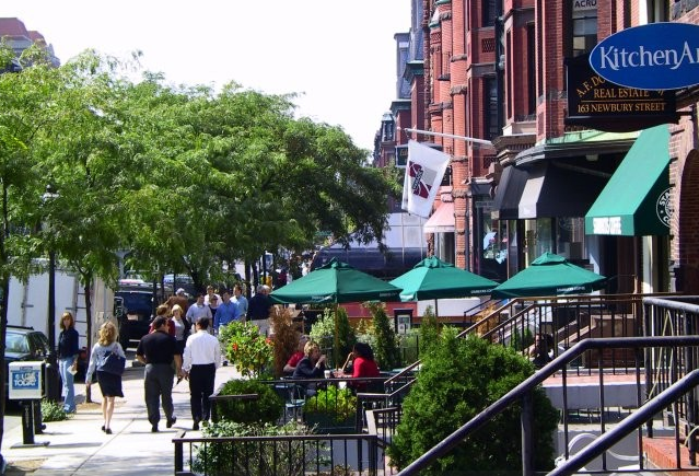 A large number of Newbury Street art galleries make this a popular destination for gallery strolls.. Newbury Street is located in Boston's elegant Back Bay neighborhood. All the shops can be found along 8 blocks sandwiched between the Public Garden and Massachusetts Avenue.