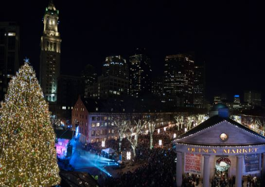 Blink Tree Lighting Smaller & Faneuil Hall Marketplace Tree Lighting Spectacular! | Century 21 ...